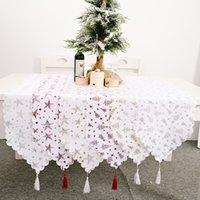 Merry Christmas White Table Runner Bronzing Tassel Table cloth Set Xmas Home Decor Caminos De Mesa Modernos Adornos Navidad New Year