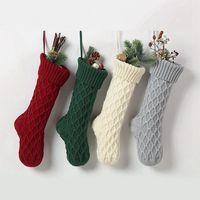 Noel Akrilik Örme Çorap Kırmızı Yeşil Beyaz Gri Örme Çorap Noel Ağacı Asılı Hediye Çorap Noel Partisi Şeker Çorap EEA1872