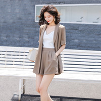 UzzVv suit 2020 Summer new chiffon wide leg Jacket and short...