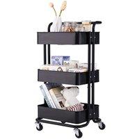 Waco 3-poziomowa kuchnia wózek narzędziowy, metal z uchwytem, rzemiosło fury sztuki domu łazienki biurowe akcesoria (czarne)
