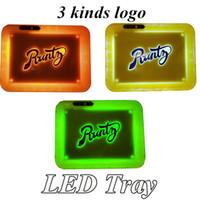 Runtz LED Fulgor Bandeja Tobacco Recarregável para Flower Seco Rolling Glowstray Titular de armazenamento 28 * 20.8 * 3.6cm com USB Cabo 3 opção de estilo