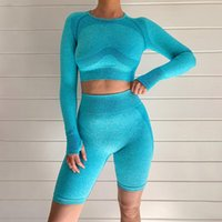 Seamless 2 Piece Set Mulheres Backless oco Out Dedo mangas compridas Top Curto cintura alta Yoga Shorts Sports Wear For Women Gym