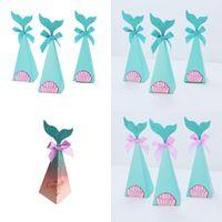 Vertikale Meerjungfrau Schwanz Bowknot Parkbox Papierstück Geschenk Wrap Case Candy Container Geburtstag Treat Party Dessert Dekorativ 0 45KT C2