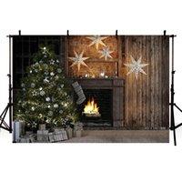 Arka Plan Malzeme Mehofond Backdrop Yılbaşı Ağacı Şömine Vintage Kahverengi Ahşap Duvar Halı Hediye Işık Poçasyonu PO Studio Dec için