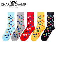 Men Happy Socks New Fashion Autumn Winter 6 Color Geometric Pattern Series Men Trend Creative Personality Cotton Crew Socks F251
