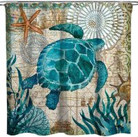 Turtle Shower Curtain Beach Theme Ocean Landscape Decoration...