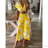 Summer Beach Casual Maxi Holiday Beach Dresses Women 19SS Deep V-neck Floral Dress