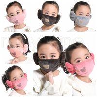 Yıkanabilir Kış Koruyucu Tasarımcı Maskeler RRA3424 Isınma toz geçirmez 1 Yüz Çocuklar 2 Çocuklar Karikatür Peluş Earmuffs Maskeler Maske