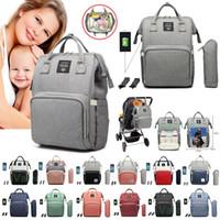 Bolsa de pañales Carga USB Mochila Impermeable Mamá Nappy Bag Viaje Mochila Bebé Bolsas de cochecito de enfermería con gancho marítimo envío AHA816
