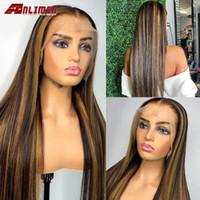 Spitze Perücken 13x6 Tiefsteil Front Gerade Perücke 150% Ombre Blondine Highlight Remy Human Hair Brasilianische Seidengrund Bleach Knoten