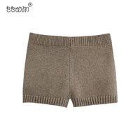 2020 Kadınlar Moda Oluklu Örme Şort Vintage Elastik Bel Kısa Pantolon Şık Pantalones Mujer