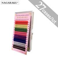 偽まつげの長く8色の虹色27箱のまつげの延長の延ばしのミンクカラーカラフルな繊毛