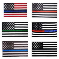 Bandeiras Linha Vermelha Linha Azul 3x5FT Fina 6 estilos Respeito bandeira Polyester US Policia Bombeiros e Honra bandeira Bandeiras 60pcs CCA12503