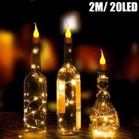 10x Warm weiß Weinflasche Kerzenform führte Lichterketten 20 LEDs Nachtfee-Licht-Lampen