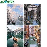 AZQSD Unframe fai da te Coloring By Numbers barca disegno su tela Paint by Number Kits Venezia dipinta a mano regalo Paesaggio
