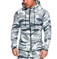 Long Sleeve Hooded Mens Sweatshirts With Zipper Contrast Color Plus Sizen Mens Camouflage Coat Sportswear Sports Fitness