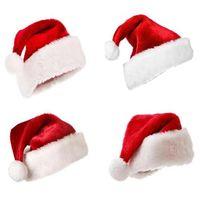 100pcs Noel süsleri Peluş Noel Baba şapkası çocuklar yetişkin Peluş Noel şapka Cosplay parti şapka T500110