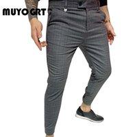 MUYOGRT 2020 Nouveau Hommes Pantalons Streetwear Jogger Pantalons simple cheville longueur Pantalon Plaid Homme d'affaires Slim Fit Sweatpants