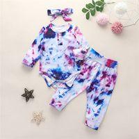 Bambini Baby Autunno Abbigliamento Abbigliamento Set Tie Dye Designer Suitsuits Manica lunga Pulsante Pulsante Passer Top + Pantaloni + Fabbi 3pcs / Set Boutique Outfits D82506