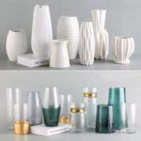 Tabletop vasos para flores de cerâmica Terrário de vidro Contentores Modern Nordic Alto vaso de flor Decoração vaso branco