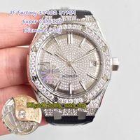 Super-Version JF Royal 15452 15402 Gypsophila Diamond Inlay Dial Cal.3120 Automatische Dame Watch Euro ausgegeben Full Diamonds Fall Liebhaber Uhren