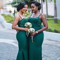 Dark Green Plus Size Vestidos dama de honra Spaghetti Custom Made Lace Applique da madrinha de casamento vestidos elegantes Mermaid Prom Dress