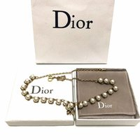 DIOR designer jewelry hip hop designer necklace butterfly iced out pendant mens 14k gold chains initial letter pearl necklaces B1