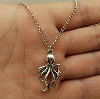 Nuovi monili di modo d'argento polipo / pendente della collana di fascino del calamaro Gioielli amico buono, catena clavicola regalo 881
