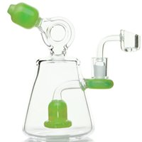"7"" Green dab rig water pipe recycler mini glass bong wit..."