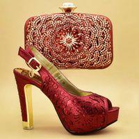 Neueste Design Afrikanische Frauen Hochzeit Schuhe und Tasche Set verziert mit Strass Passende italienischen Schuh und Tasche Set Sexy Heels