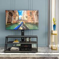 На складе США, мебель черный многофункциональный угол и высота регулируемое закаленное стекло телевизора стенд гостиной мебель W24104953