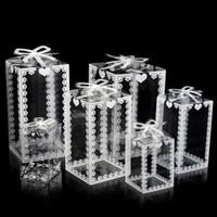 Nouveau PVC transparent 50pcs Boîte Favor gâteau de mariage Emballage / Noël Emballage chocolat bonbons Dragée cadeau Apple Event Box Transparent
