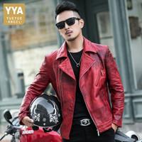 2020 nuovi Mens di lusso della pelle di pecora Giacca in pelle Giubbotti pelle Slim Fit Motociclo degli uomini punk Designer Red Coat Outwear 4XL