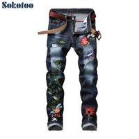 Sokotoo Erkekler çiçek nakış streç denim kot adam için Moda ince uygun kalem pantolon