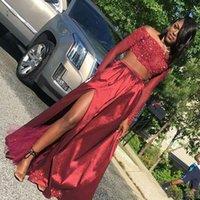 Red Prom Vestidos Africano Partido negras escuro Árabe Popular Two Pieces Vestido Off The Shoulder mangas compridas alta Dividir Vestidos
