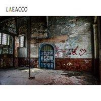 Laeacco Fotografia sfondi grunge Scuro Magazzino Graffiti Room Interior Sfondo fotografico per Photo Studio