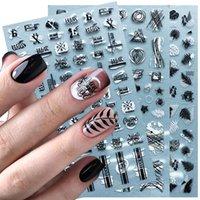 3D Nail Sticker Schwarz-weißer Brief Blatt Sommer Abziehbilder Klebstoffübertragung Sliders-Nagel-Kunst-Entwurfs-Dekoration Werkzeuge NFF654-661-1
