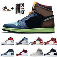 Лучшие высокого качества Био Hack Бесстрашный Mens ретро баскетбольной обуви 1S Light Smoke Черный Toe Rookie UNC Мужчины Женщины Спорт кроссовки размер 36-46