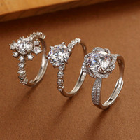 New Classic Six- claw Diamond Rings Silver Plated Couple Wome...