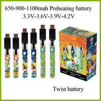 두꺼운 오일 분무기의 경우 예열 배터리 650mah 900mah 1100mah 510 스레드 전자 담배 변수 전압 예열 배터리 18PCS 디스플레이 박스
