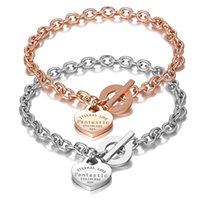 Aşk Kalp BraceletBangle Ölümsüz Aşk kolye Moda Paslanmaz Çelik Marka Tiff Tasarım Kadınlar Şık Zinciri Takı Hediyeler