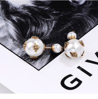 D a bee pearl double ball stud earrings female temperament contracted joker senior French sense of fashion earrings, factory direct sales, h