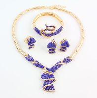 Conjuntos de granos de la joyería Africano para las mujeres collar de cristal azul pendientes brazalete anillo pendiente de la boda accesorios de vestir