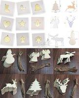 Деревянные рождественские украшения Crafts Снеговик Рождественский чулок Elk Angel Wood Chip Главная украшения рождественской елки Малый Подвеска Дешевые D83104
