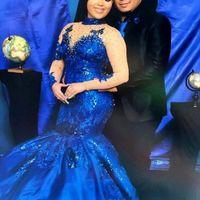 Neue Anpassen Royal Blue Abendkleider High Neck Lange Ärmel Spitze Appliques Abendkleider Plus Größe Satin Meerjungfrau Formale Tragen