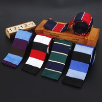 새로운 패션 남성 니트 타이 브랜드 스키니 슬림 디자이너 남성 니트 목 넥타이 Cravate는 스키니 스트라이프 넥타이 남성용를 좁히