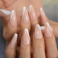 Französisch mit schrägem Kegel Medium Coffin Press On Nails Weiß Tipps gefälschter Fingernagel Falsch 24 Pc-Nagel-Set Kit mit Klebstoff