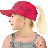 Boné de beisebol Kid Boy Girl Rabo Glitter Messy Bun Chapéus Hiphop Snapback Ball Caps Verão ajustável Viseira Moda Sequins Outdoor