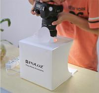 Heißer Verkauf Puluz Tragbare Mini-LED-Fotostudio-Box-Tabletop-Schießen Soft Box Zelt mit Licht und 2 * LED-Panels + 6 * Kulissen