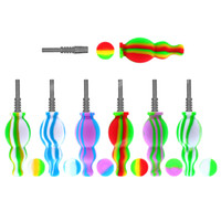 Silicone Nectar Collector gourd container Kit with Titanium Tip Dab Straw Rig Silicone Bongs Hand Pipe Oil Concentrate Smoke Pipe